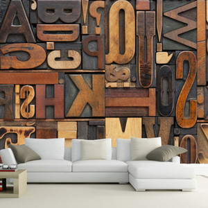Wholesale 3d painting resale online - Vintage Letter Number Wallpaper D Giant Mural Painting bars KTV cafe Hallway restaurant decor Personality Wallpaper