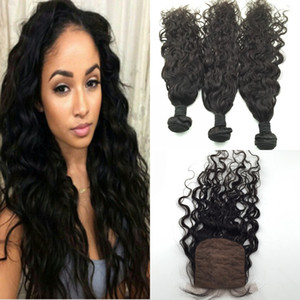 Wholesale silk base closure water wave for sale - Group buy Brazilian European Indian Virgin Hair Weave Water Wave Middle Part Silk Base Closure With Bundles A Human Hair Extension