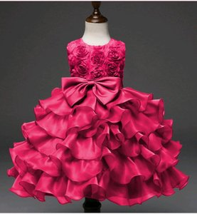 Wholesale Beauty Baby Dresses for Birthday Big Bow Knot Prom Dress Short Infant Girl Roses Design Flower Princess Dress