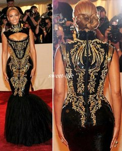 Sexy Evening Gowns Beyonce Gala Black and Gold High Neck Floor Length Mermaid Maxi Dress Celebrity Dresses 2019 Plus Size Prom Dress on Sale