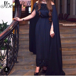 Wholesale Special Navy Blue Arabic Evening Dresses Sexy Bateau Beaded Lace Prom Dresses Elegant Formal Dresses Evening Gowns Sleeve Vestidos De Noche