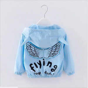 Retail 2017 Spring Autumn Baby Boys Girls Angel Wings Coats Outwear Kids Zipper Hooded Jackets Fashion Children Wind Coat 90cm-100cm-110cm on Sale