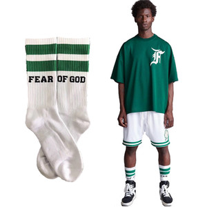 Wholesale FEAR OF GOD Stripe Basketball Socks FOG Harajuku Cotton Skateboard Hip Hop High Street Sports Midtop Socks HFWZ001
