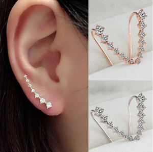 Ear Climber Crawler Earrings Sterling Silver Gold Crystal Sparkle Rhinestone Ear Stud Pins