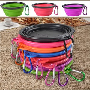 Wholesale Portable Silicone Collapsible Dog Bowl Cat Puppy Pet Feeding Travel Bowl with Carabiner Easy Carry Pet Food Bowl Feeder Dish with Hook