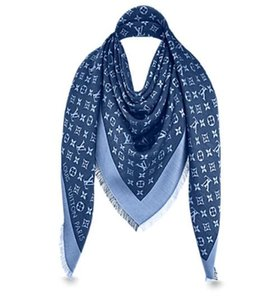 Denim Blue L Brand Check Wool Cotton Cashmere Silk Scarves Scarf Wrap Shawl Pashmina 140x140cm on Sale