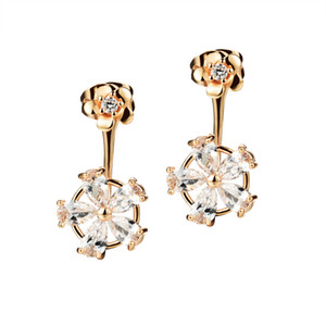 WPY JEWELRY Cute Flower Design Dangle Earrings New Fashion 18K Gold Plated with Cubic Zirconia Women's Vintage Jewelry AKE656 on Sale