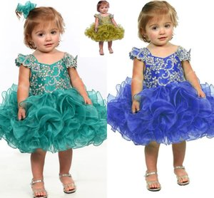 Wholesale baby girls' pageant dresses resale online - 2020 Little Girl Flower Girl Dress Blue Baby Girl Infant Toddler Birthday Pageant Dress Short Length Ruffled Fashion Ball Gown Tutu HY951