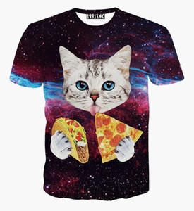 Wholesale newest galaxy space D t shirt lovely kitten cat eat pizza funny tops tee short sleeve summer shirts for men women