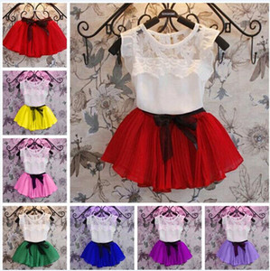 Wholesale t girls dresses resale online - 7 Color baby Lace Chiffon bowknot Girls dress suits Summer Lace cotton T shirt Short skirt suit children clothes