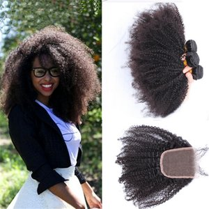 Wholesale Hot Selling Afro Kinky Curly Hair Bundles With Lace Closure Unprocessed Kinky Curly Hair Extensions Weft With Top Closure