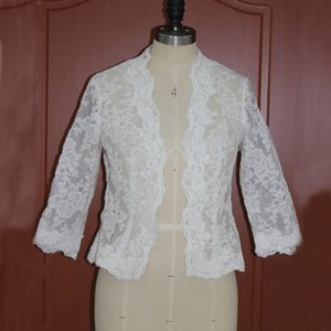Wholesale white lace wedding shrug for sale - Group buy Real Picture Bridal Lace Cape Wedding Wraps Boleros Lace White Ivory Bolero Shrug with Sleeves Cheap High Quality