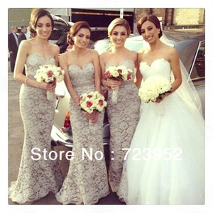 Wholesale New Elegant Lace Bridesmaid Dresses Sexy Sweetheart Lace Bridesmaid Dress Floor Length Summer Beach Long Evening Gowns BO4489