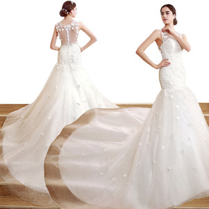 Wholesale ZCL03 Charming 2019 Modern Beaded Neck Wedding Dresses Sheer Jewel Neck Lace Bodice Pearls Mermaid Zip Back Real Image Bridal Gown