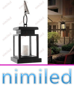 ingrosso albero ombrello-nimi1045 Vintage Solar Powered Lamp impermeabile appeso lanterna a lume di candela LED con morsetto Beach Umbrella Tree Garden Yard Lawn Lighting
