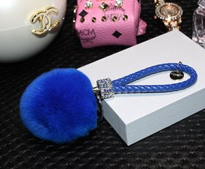 Wholesale DHL free colors diamond cm Rabbit Fur Ball Braided rope women key car Carabiner keychain pendant for bag plush pendant