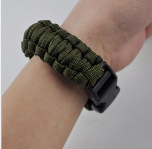 Outdoor mergency use survival Bracelet Survival Escape Life-saving Bracelet Paracord Hand Made With Plastic Buckle for 2016 new hot selling