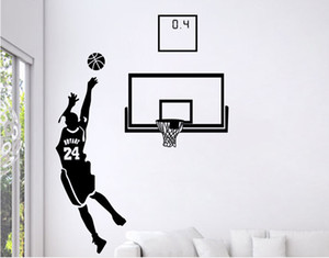 Free Shipping: Small Middle Large Black 3D DIY Photo No.24 Basketball Player PVC Decals Adhesive Family Wall Stickers Mural Art Home Decor on Sale