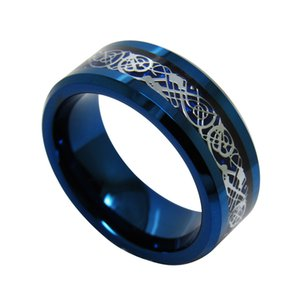 tungsteno anillos de carburo al por mayor-8mm Fashion Jewelry Blue Tungsten Carbide Ring Dragon Inlay para hombres WRY