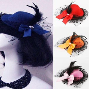1pcs Lady Mini Feather Rose Top Hat Cap Lace Fascinator Hair Clip Costume Accessory 10 Colors Drop Shipping HDR-0125