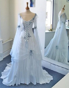 Wholesale Vintage Celtic Wedding Dresses White And Pale Blue Colorful Medieval Bridal Gowns Scoop Neckline Corset Long Bell Sleeves Appliques Flowers