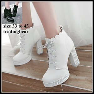 Wholesale Plus Size To Bridal Wedding Shoes White PU Leather Ankle Boots Platform Thick High Heels Knight Boot