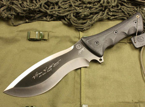 Hand Signed Edition CHRIS REEVE Fixed blade knife 7Cr17 58-60HRC Titanium Finish Blade Outdoor Survival hunting knives with leather sheath