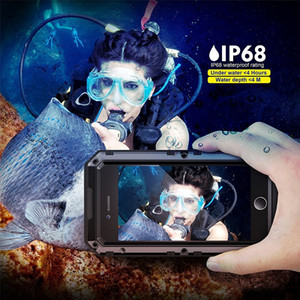 Wholesale For iphone Waterproof Case Metal Aluminum Armor Swimming Water Proof Cover For X Plus Shockproof Cover Seal IP68 Fingerprint Phone