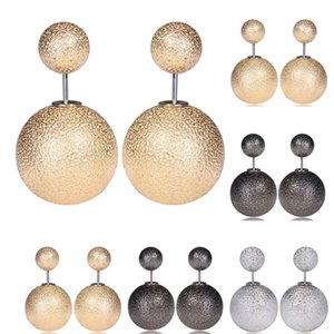 Wholesale Double Scrub Balls Stud Earrings Luxury Imitation Pearl Earings Color Fashion Jewelry for Women girls Christmas gift
