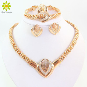 Women Fashion Gold Plated Crystal Necklace Earring Bracelet Ring Dubai Jewelry African Beads Jewellery Costume