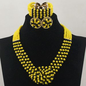 Wholesale 2019 hot yellow black k necklace pendant earring set Statement Bridesmaids Jewelry set Lady Women Prom Party Fashion hip wedding jewelry