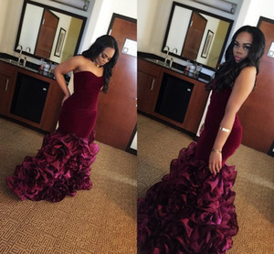 2018 New Burgundy Long Mermaid Prom Dresses Rose Floral Flowers Tiered Sweetheart Velvet Plus Size Formal Party Gowns Evening Dress Vestios on Sale