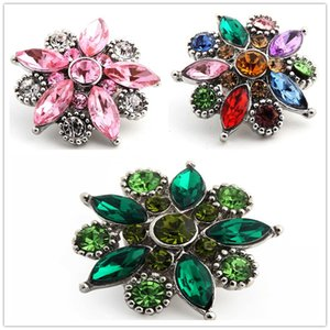 Wholesale ZE008 mm Metal crystal Rhinestone Button Flower snaps Jewelry for DIY Noosa Leather Bracelet Pendant Necklace Charm ginger snaps chunk