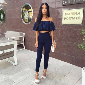 Wholesale Two Piece Set Playsuits Womens Ladies Fashion Strapless Playsuiits Off Shoulder Tops Falbala Two Piece Playsuit XS-XL Sizes 4 Colors