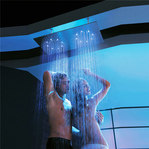 Wholesale Double Rainfall LED Light Showerheads Stainless Steel mm Shower Head Rain Bathroom Showers Water Power Lights