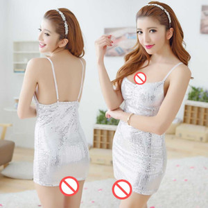 Wholesale new sexy lingerie cosplay sexy underwear white sling sequins tight nightclubs professional uniforms uniforms pajamas can be wh