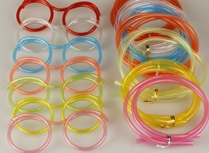 Wholesale NEW Funny Soft Glasses Straw Unique Flexible Drinking Tube Kids Party Accessories Colorful Plastic Drinking Straws
