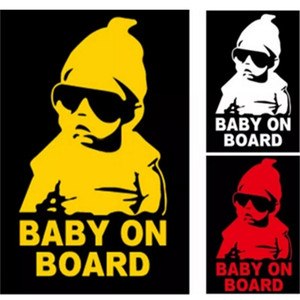 Wholesale Reflective Funny Baby On Board Warning Decal Car Vinyl Sticker Black Reflective Waterproof Baby On Board Car Window Stickers2017101602