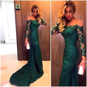 New Arrival Elegant Green Lace 2016 Mermaid Long Sleeve Prom Dresses Sexy Sheer Emerald Formal Evening Gowns Party Dresses vestido de festa on Sale