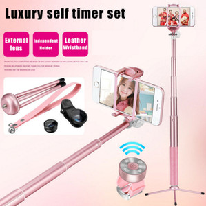 Wholesale Diforate Luxury Leather Extendable Bluetooth Folding Selfie Stick Remote Shutter Selfies Tripod For iPhone Samsung Smartphone