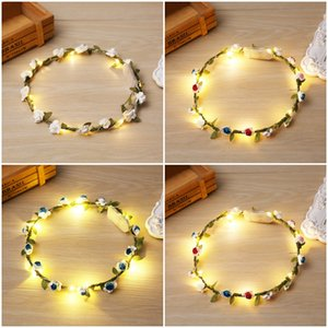 5 Style Christmas Handmade Boho Flower Headband Hair Wreath Floral Garland LED Light with Ribbon Festival Wedding Party Jewelry D304S