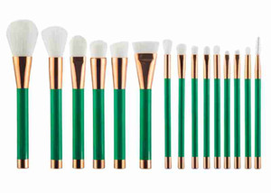 Wholesale 15 set makeup brush white brush with green handle pink brush with gold handle purple brush with black handle