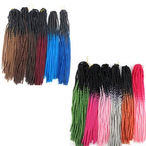 Wholesale Synthetic Faux locs braiding hair crochet braid twist inch g ombre two tone soft dreadlocks kanekalon hair extensions