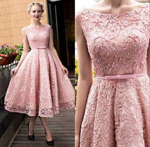 2017 Glamorous Tea-Length Pink Lace Prom Dresses with Beaded Boat Neck A-Line Lace-up Cocktail Party Dresses on Sale