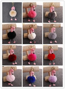 Wholesale Cute pink pompom key chain flamingo keychain fluffy fake rabbit fur ball women car bag pompon key ring pom pom holder jewellery