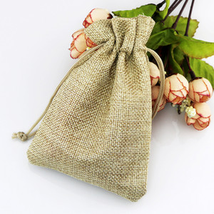 Wholesale Hot Light Brown Linen Fabric Drawstring bags Candy Jewelry Gift Pouches Burlap Gift Jute bags x9cm x14cm x18cm x20cm