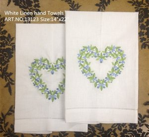 Wholesale heart textile resale online - Home Textiles x22 quot White linen Ladies Handkerchief Beautiful heart embroidered One Hemstitched Edges Guest Towel Linen Hand Towel