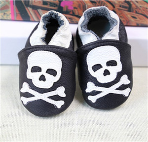 Wholesale Baby Toddler Shoes The New Summer Black Skull Baby Toddler Shoes Black Skeleton Soft Sole Leather Baby Toddler Shoes