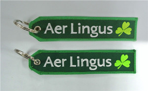 Factory Price Fabric Keychain Aer Lingus Irish Airlines CREW Luggage Keychain Banner 13 x 2.8cm 100pcs lot