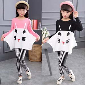 Wholesale strip outfits for sale - Group buy New Girls Cute Cat Strip Outfits Sets Children Autumn Long Sleeve two pieces Cartoon Tracksuits loose tshirt leggings tight Girls Suits set